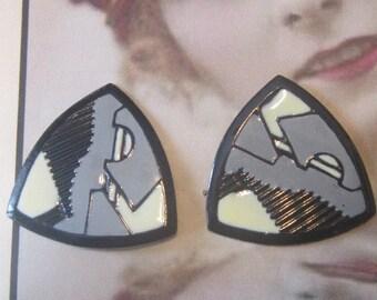 Vintage Enamel Triangular Pierced Earrings
