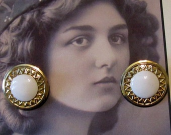 Vintage Gold and White Pierced Earrings