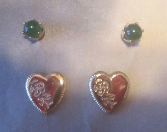 Vintage Jade Studs & Gold Engraved Heart Pierced Earrings
