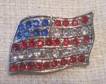 CELEBRATE FOURTH of JULY--Vintage American Flag Rhinestone Brooch