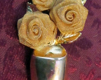 Vintage Vase and Flowers Brooch