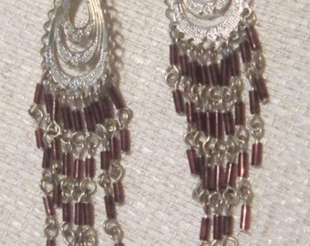 Vintage Silver and Brown Bead Bohemian Chandelier Earrings