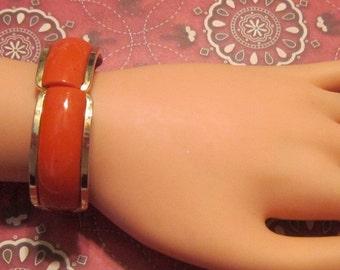 Vintage Orange Enamel Cuff Bracelet