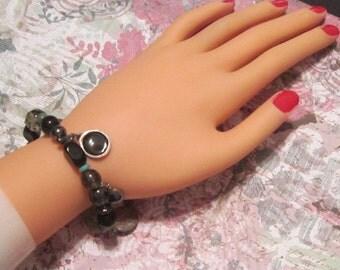 Vintage Black Bead and Charm Bracelet