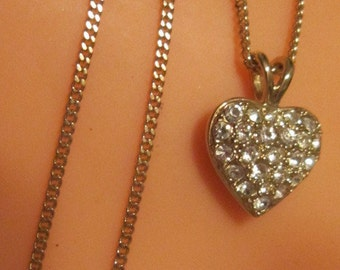 Vintage Gold and Rhinestone Heart Pendant and Chain
