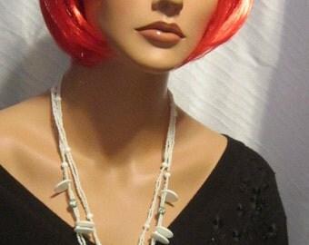 Vintage White Acrylic Bead Necklace
