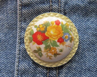 VINTAGE Floral Hand Painted Brooch - Hand Painted Pin - Floral Pin - Floral Brooch - Flower Pin - Flower Brooch - Hand Painted Flower Pin