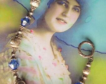 Vintage Silver Bead and Royal Blue Crystal Toggle Bracelet
