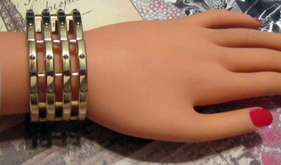 Vintage Gold Parallel Hinge Bracelet