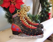 ICE SKATES  Handpainted Decoration Holiday or Everyday