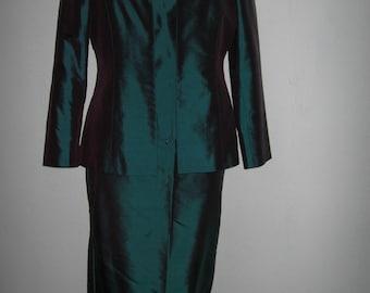 3 piece green silk custom made suit