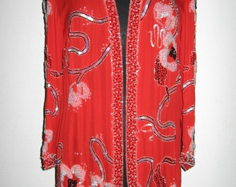 Fabrice couture red beaded silk jacket
