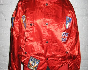 red satin baseball jacket by Claude Dragon for mano mano