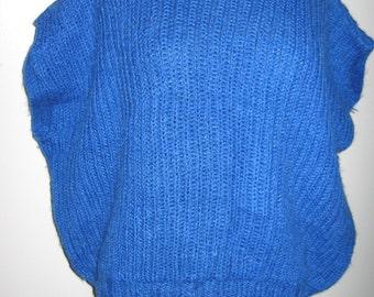 Handknitted cornflower blue wool sweater