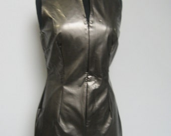 Metallic gunmetal grey sleeveless sheath
