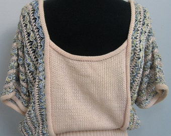 Awesome cropped pink cotton sweater with kimono sleeves and waistband
