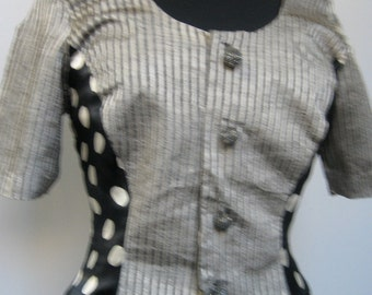 Charming 1-of-a-kind top with unique beaded buttons