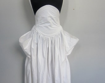 Norma Kamali 1980's white cotton jumper with high waist or flap midriff and huge side pockets