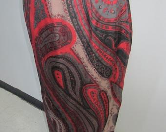 Paisley print long silk skirt by Carlisle