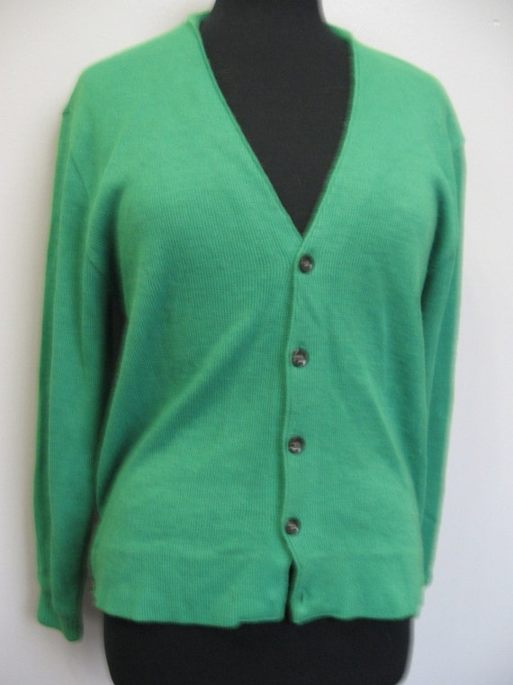 Men's green cardigan sweater