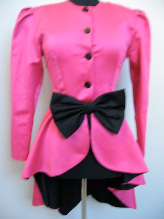 Stunning hot pink satin top with black accents