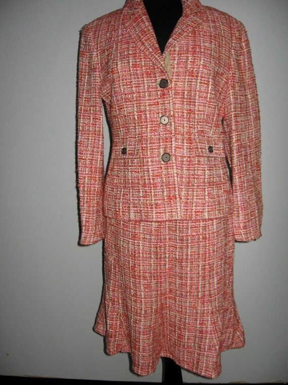 3 - piece ensemble of pink tweed jacket  and skirt with matching khaki pants by Carlisle