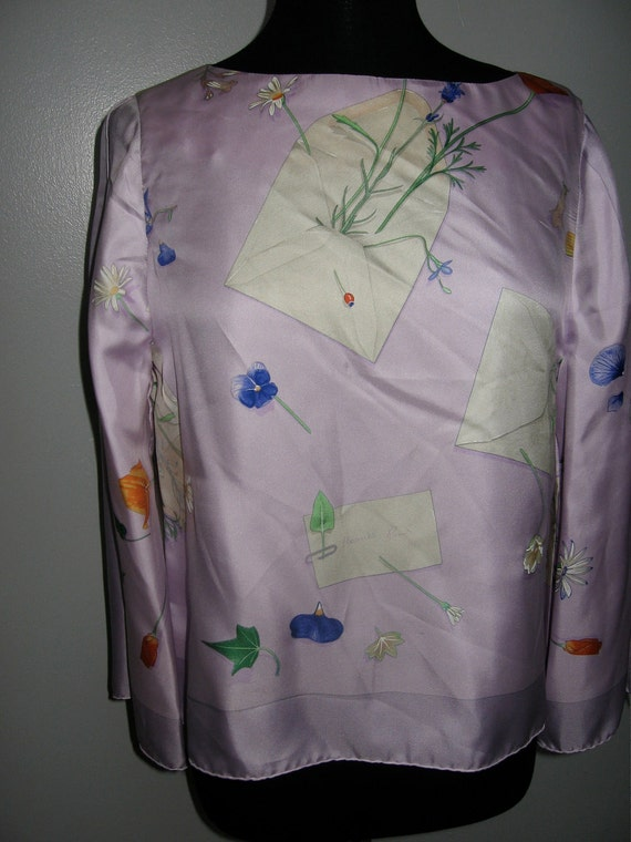 Pale Lilac Hermes silk scarf fashioned into a blouse