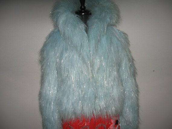 Fun pale blue faux fur cropped jacket