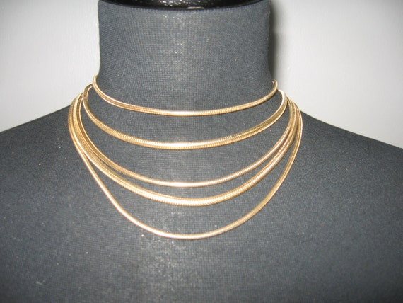 Classic 5 strand gold snake chain necklace