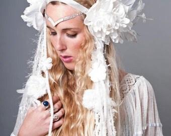 FAIRY HEADDRESS, white headpiece, yarn falls, flower headdress, belly dance, dread falls