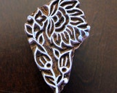 Hand Carved Indian Wood Textile Stamp Block- Stylized Lily Flower