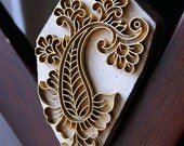 Handmade Indian Wood and Brass Textile Stamp- Paisley with Flowers Motif