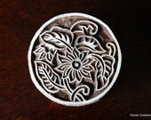 Hand Carved Indian Wood Textile Stamp Block- Round Art Nouveau Floral Motif (Reduced)