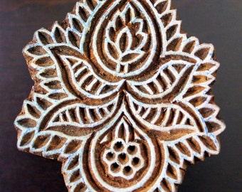 HALF PRICE SALE Hand Carved Indian Wood  Textile Stamp Block- Floral/Paisley Motif