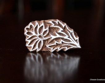 Hand Carved Indian Wood Textile Stamp Block- Tuberose Flower