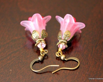Lucite Flowers and Crystals Antiqued Gold Layered Earrings