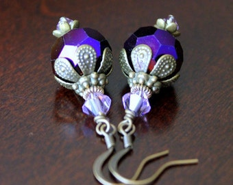 Shiny Purple Iris Glass and Crystals Antiqued Gold Earrings