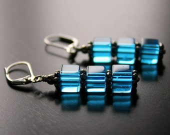 Blue Czech Glass Cubes Stack Earrings