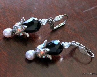 Black Czech Glass drop, White Pearl and AB crystal studded Flower Earrings