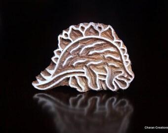 SALE Hand Carved Indian Wood Textile Stamp Block- Dinosaur (Stegosaurus)