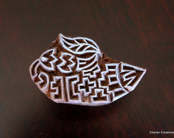 Hand Carved Indian Wood Textile Stamp Block- Abstract Fish Motif (ON SALE)