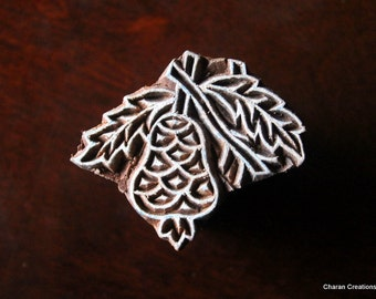 HALF PRICE SALE Hand Carved Indian Wood Textile Stamp Block- Pear