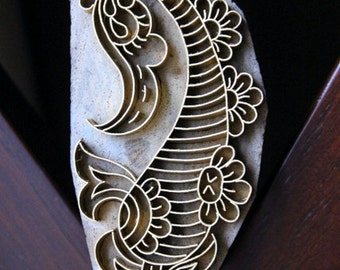 Handmade Indian Wood and Brass Stamp Block - Paisley