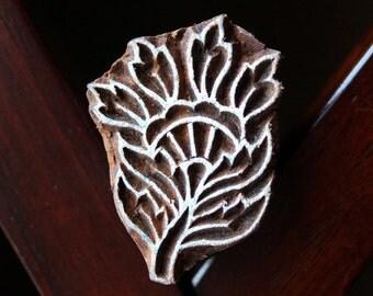 ON SALE Hand Carved Indian Wood Textile Stamp Block- Floral Motif
