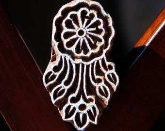 Hand Carved Indian Wood Textile Stamp Block- Floral Motif