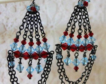 Red and Blue Crystal Chandeliers - Whimsy