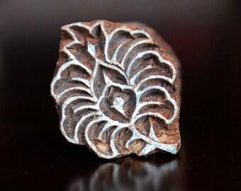 Hand Carved Indian Wood Textile Stamp Block- Floral/Leafy Motif