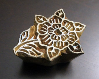 Hand Carved Indian Wood Textile Stamp - Flower