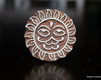 ON SALE Hand Carved Indian Wood Textile Stamp Block- Sun