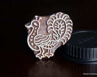 Hand Carved Indian Wood Textile Stamp Block- Peacock